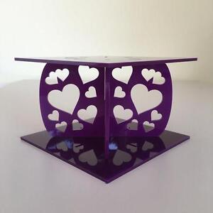 Hearts Design Square Wedding/Party Cake Separators - Purple Acrylic