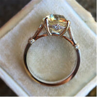 Luxurious Round White Sapphire Wedding Ring Anniversary Promise Gifts 925 Silver