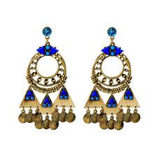 Boucles d`Oreilles Clous Doré Chandelier Bleu Anneaux Ethnique Gros XX18