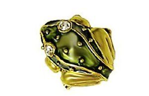 "Frog Tie-Tack Green Enamel on Pewter & Brass 24K Gold Plate Trim 5/8 x 5/8"""