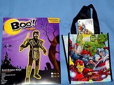 GOLD DRAGON NINJA costume;boys-L-12-14;Tabard-Mask;SUPERHERO;trick or treat bag