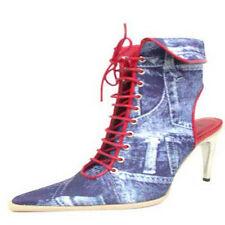 """extrem auffallende Italy Designer High Heels Stilettos """"Blue Jeans Denim"""" Gr.41"""
