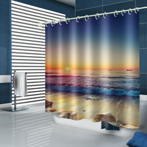 Sunset Beach Shower Curtain Bathroom Rug Set Bath Mat Non-Slip Toilet Lid Cover