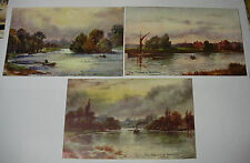 Lot12t - c1910  JH Signed THAMES Set of 3 BEDFORD ISLEWORTH RICHMOND POSTCARDS