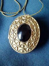 "Vintage Black Onix  Soild Perfume Compact - Pendant Necklace 24"" Gold Tone"