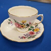 Royal Vale England Bone China Floral Flowers Cup & Sauce signed gold trim