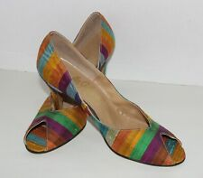 Vtg 50'S Johansen Striped Silk Stiletto High Heel Pinup ShoesOpen Toe 7-8