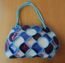 LOVELY BLUE RED PINK WHITE PATCHWORK HAND BAG HANDBAG SHOULDER BAG