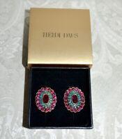 NIB $90 Heidi Daus Collector's Edition Crystal Accented Earrings Fuchsia