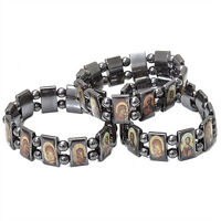 3pcs Set Orthodox Religious Hematite Bracelet with Christian Icons of all Saints