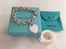 "Tiffany & Co Sterling Silver Heart Tag Link Bracelet. 7.5"". Retired"