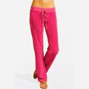 Juicy Couture Hot Pink Velour Drawstring Pants, Size Large