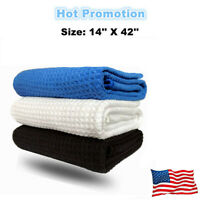 """White Golf Towels 14"""" x 42"""" Microfiber Waffle Tour Players Taylormade Callaway"""
