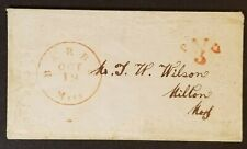 1850's Barre to Milton Massachusetts Embossed Ladies Envelope Paid 3 Cents Cover
