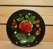 Vintage hand painted oil/wood wall hanging floral plate