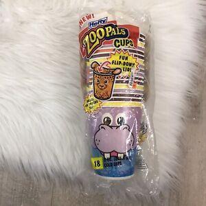 Vtg 18 Zoopals Paper Cups Animals Flip Fold Down Lid Kids Snacks Drinks NOS