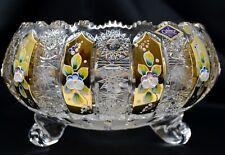 "Crystal Glass Bowl Vase 10 "" Hand Cut &  Gold Centerpiece Czech Bohemian Crystal"
