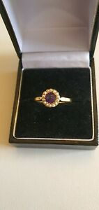 Antique 18ct Gold Amethyst & Seed Pearl Ring
