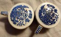 Vintage Blue & White Asian Porcelain Salt Pepper Shaker Set-Japan- Beautiful!