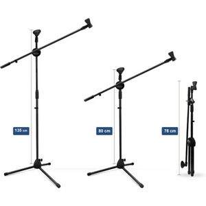 Support Pied Microphone Avec Pince de Micro Hauteur Ajustable 80-135cm Noir FR