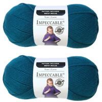Lot of 2 Skeins: Loops & Threads Impeccable Yarn - Teal - Acrylic - each 4.5 oz