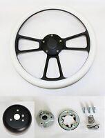 """14"""" White Grip on Black Spoke Steering Wheel Shallow Dish for GM Column"""