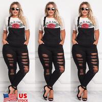 US PLUS SIZE Women Loose Ripped Denim BIB Jeans Trouser Romper Jumpsuit Overalls