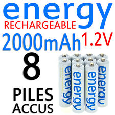 8 PILES ACCUS RECHARGEABLE AAA ENERGY NI-MH 2000mAh 1.2V LR03 LR3 R03 R3 ACCU