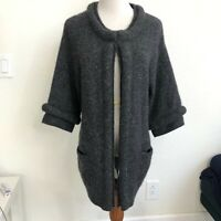 Neiman Marcus Cashmere Collection gray Knit Sweater Cardigan Jacket Pocket L HK