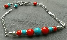 Handmade Natural Blue Turquoise and Red Coral Gemstone Bar Dainty Chain Bracelet