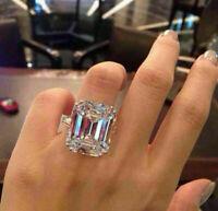 5Ct Emerald Cut D/VVS1 Diamond Solitaire Engagement Ring 18K White Gold Finish