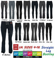 Ladies Trousers Stretch Hipster Bootcut Size 4-16 Miss Chief Black Office Petite