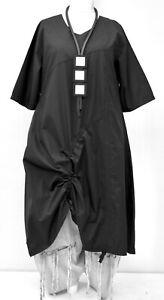 "PLUS SIZE LA BASS DESIGN BLACK COTTON POPLIN A-LINE DRESS BUST 54-56"" XXL-XXXL"