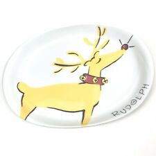 Pottery Barn PB Rudolph Reindeer Oval Serving Platter Plate Ceramic White