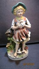 Vintage Homco Figurine - Girl Holding Bird - 8 Inches #8880