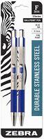 Zebra Ballpoint Pens F301 Blue Ink Fine 0.7mm Point Durable Stainless Steel 2pk