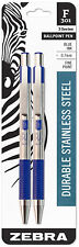 Zebra Ballpoint Pens F301 Blue Ink Fine 0.7mm Point Durable Stainless Steel 2pk