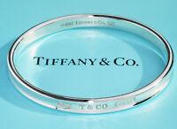 Tiffany & Co 1837 Argento Sterling Ovale Bracciale Rigido Misura Medio