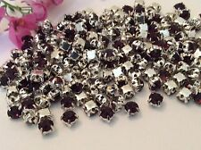 Rhinestone Sew On Amethyst diamante 18ss (4.3mm)  Silvertone pack of 50 CRAFT