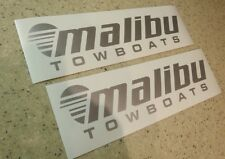 """Malibu Vintage Tow Boat Decals 9"""" Silver 2-PK FREE SHIP + FREE Fish Decal"""
