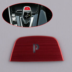 Red Gear Shift Knob P Button Cover Trim Fit For BMW 5 Series F10 2011-2016