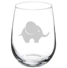 Stemless Wine Glass Goblet 17oz Baby Elephant