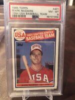 1985 Topps Mark Mcgwire 1984 USA Baseball Team #401 PSA 8!
