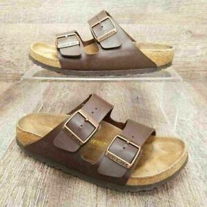 Birkenstock Women's Arizona Slide Sandals Brown Leather Double Buckle US 6 EU 37