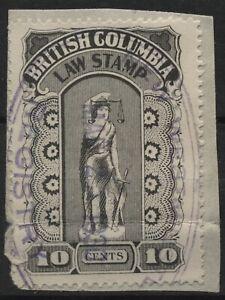 Canada VanDam #BCL22 10c black BC Law Stamp - 5th series (hairy leg) - 1912