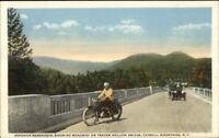 Catkills NY Motorcycle at Ashokan Resevoir Traver Hollow Bridge c1920 Postcard