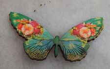 Vintage Style Floral Butterfly Brooch or Scarf Pin Jewelry Wood NEW Multi-Color
