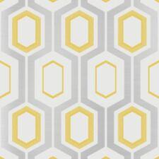 MORTIMER Papier peint Géométrique Jaune - Rouleau COULEUR M1025 Argent Blanc