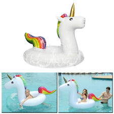 Giant Inflatable Rainbow Unicorn Water Float Raft Summer Swim Pool Beach Ring