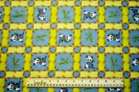 By the 1/2 yard cotton quilt fabric Baby Panda Bears Blocks blue yellow squares